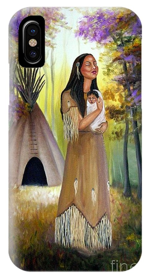 Native American IPhone X Case featuring the painting Native American Mother And Child by Lora Duguay