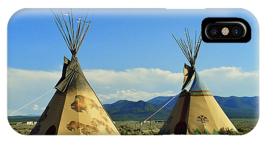 Native IPhone X / XS Case featuring the photograph Native American Teepees by Dora Sofia Caputo Photographic Design and Fine Art