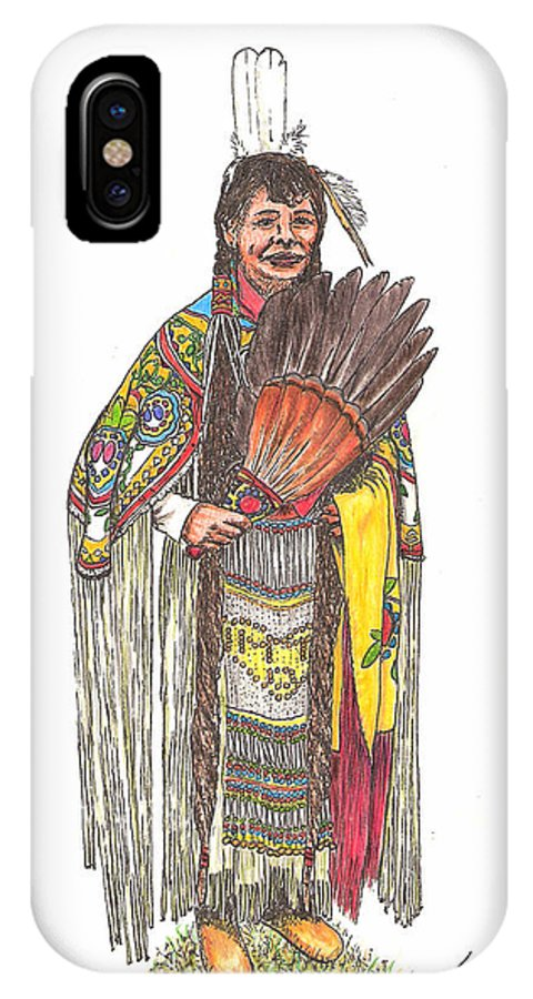 Indian IPhone X Case featuring the drawing Native American Woman by Lew Davis