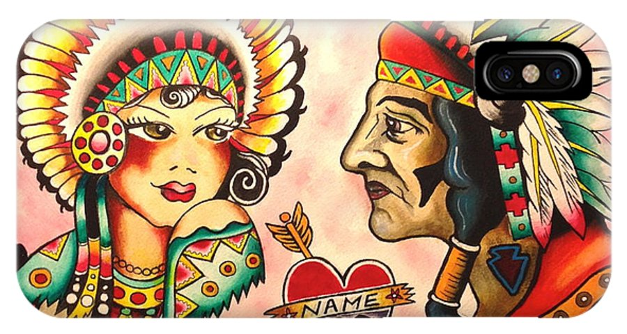 Native IPhone X Case featuring the painting Native Flash Sheet by Britt Kuechenmeister