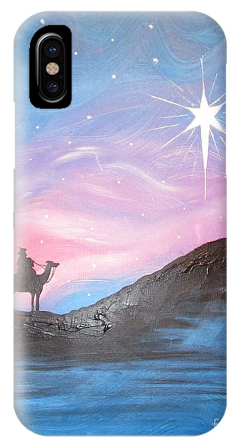 Nativity Scene Paintings IPhone X Case featuring the painting Nativity by Christal Kaple Art
