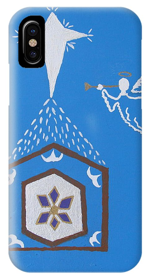 Nativity IPhone X Case featuring the painting Nativity Scene by Brady Harness