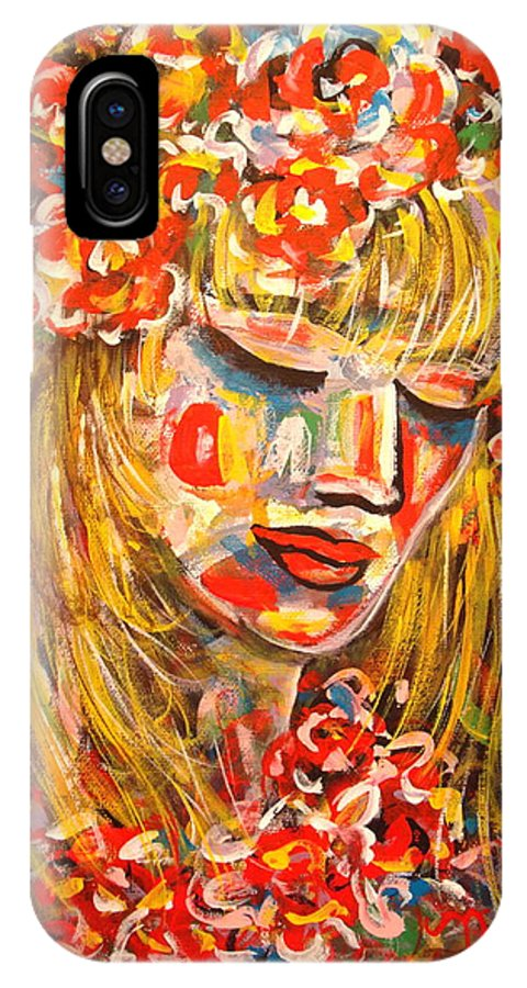 Girl IPhone X Case featuring the painting Nature Girl by Natalie Holland