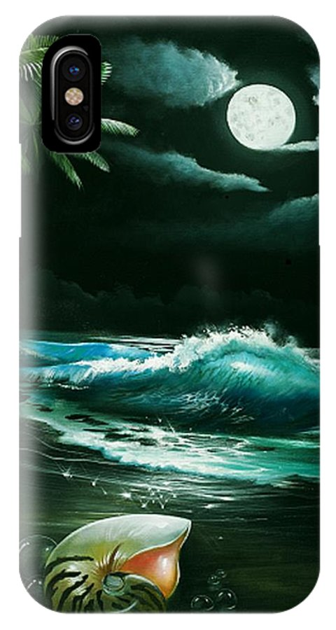 Shell IPhone X Case featuring the painting Nautilist by Michael Alexander