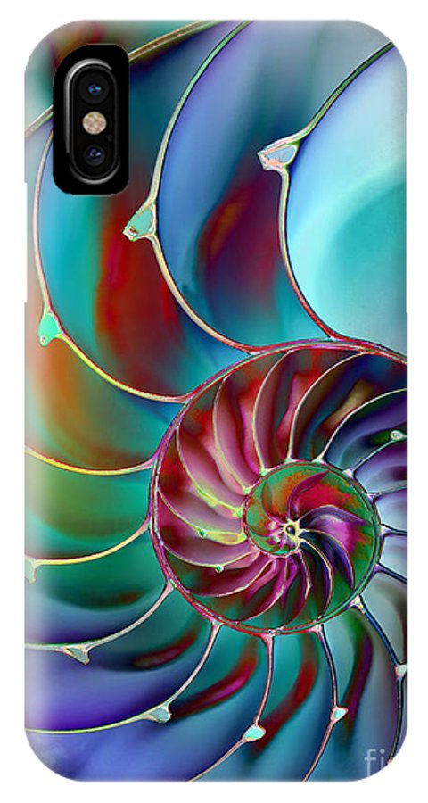 Abstract IPhone X Case featuring the digital art Nautilus by Klara Acel