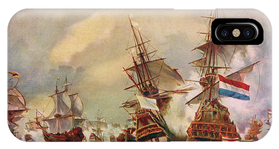 Naval IPhone X Case featuring the drawing Naval Battle Off Texel A French Fleet by Mary Evans Picture Library