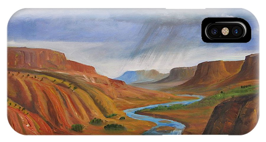New Mexico IPhone X Case featuring the painting Near Abiqui by David Delaney