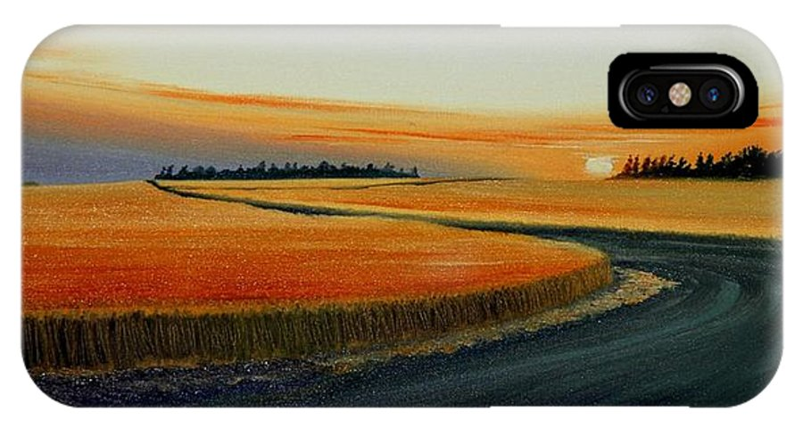 Wheat IPhone X Case featuring the painting Near Moscow by Leonard Heid