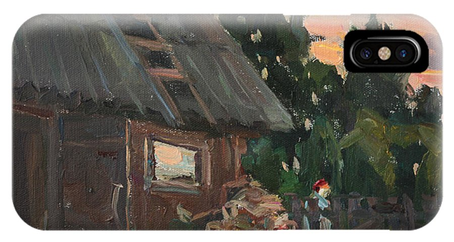 Trees IPhone X / XS Case featuring the painting Near The Russian Bath by Juliya Zhukova