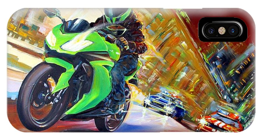 Motorcycle IPhone X Case featuring the painting Need For Speed by Roman Fedosenko