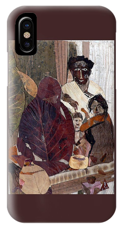 Group Portrait IPhone X Case featuring the mixed media Needy Family by Basant Soni