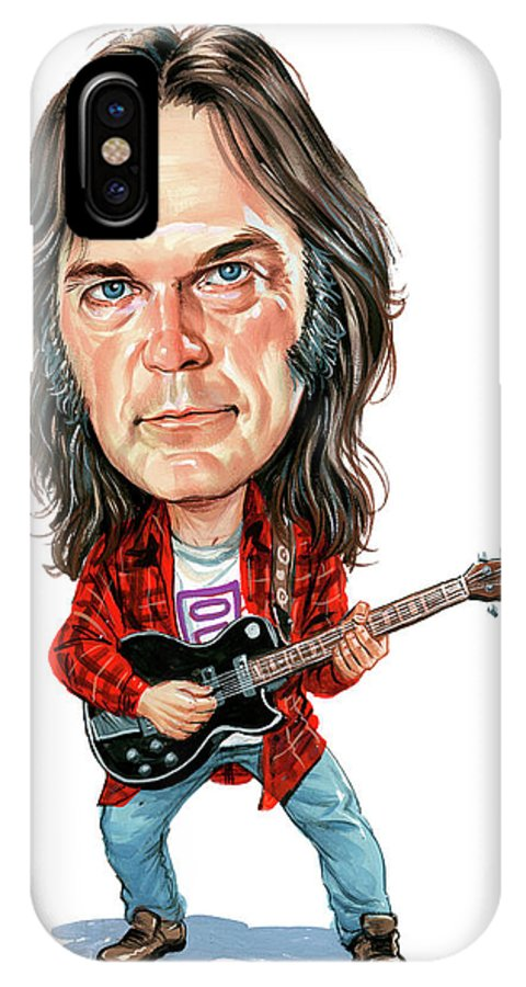Neil Young IPhone X Case featuring the painting Neil Young by Art