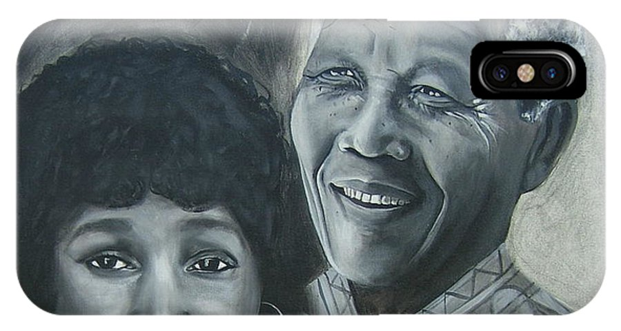 From Black & White Series IPhone X Case featuring the painting Nelson And Winnie by Howard Stroman