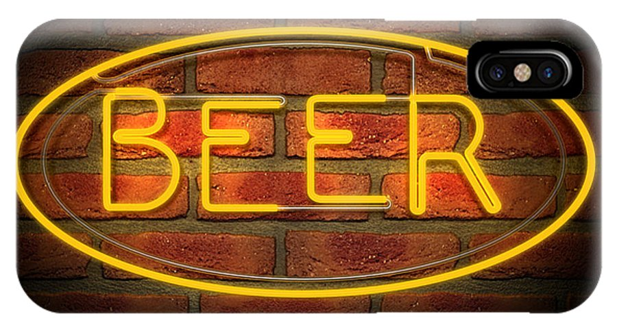 Neon IPhone X Case featuring the digital art Neon Beer Sign On A Face Brick Wall by Allan Swart