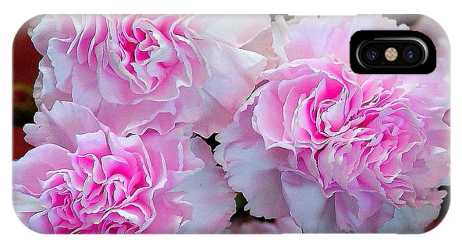 Carnations IPhone X Case featuring the photograph Neon Carnations by Mavis Reid Nugent