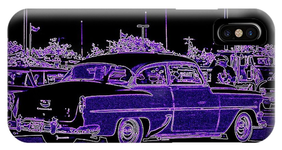 Chevy Art On Canvas IPhone X Case featuring the digital art Neon Chevy Blues by Bobbee Rickard
