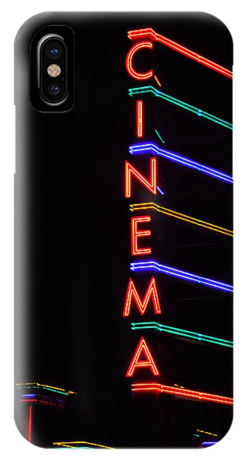 Neon IPhone X Case featuring the photograph Neon Cinema by Marcia Socolik