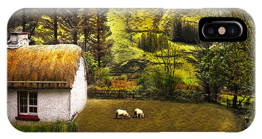 Cottage IPhone X Case featuring the digital art Nestled In The Glen by Vicki Lea Eggen