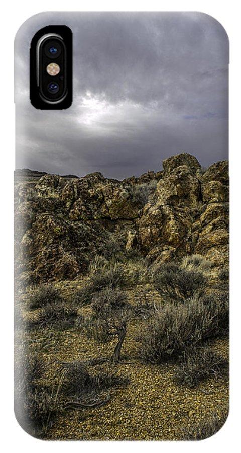 Disaster Peak Road IPhone X Case featuring the photograph Nevada Desert Skies by Karen W Meyer