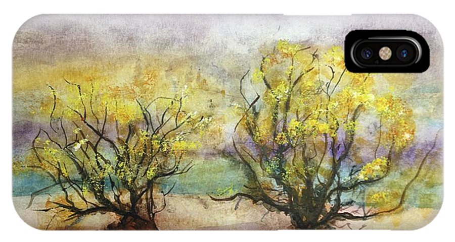 Landscape IPhone X Case featuring the painting Never Land by Carol Warner