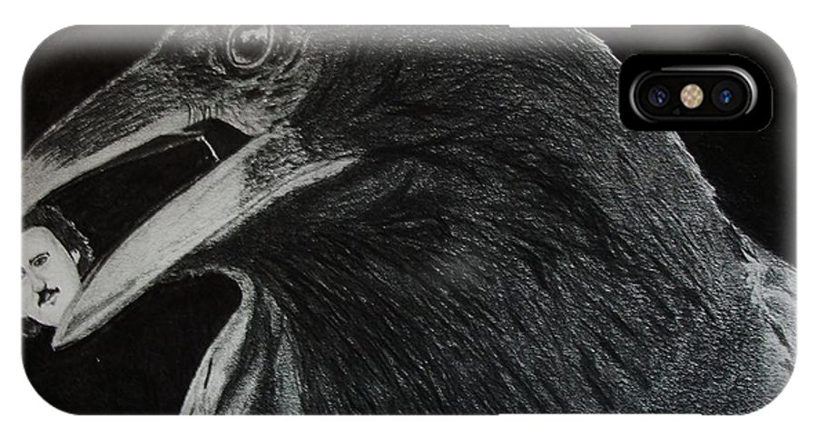Horror IPhone X Case featuring the drawing Nevermore by Nick Young