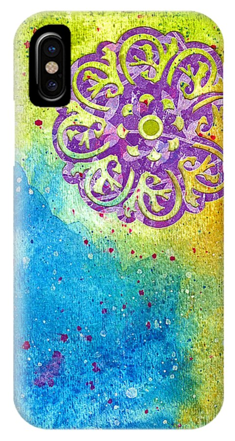 Mixed Media IPhone X Case featuring the painting New Age #7 by Desiree Paquette