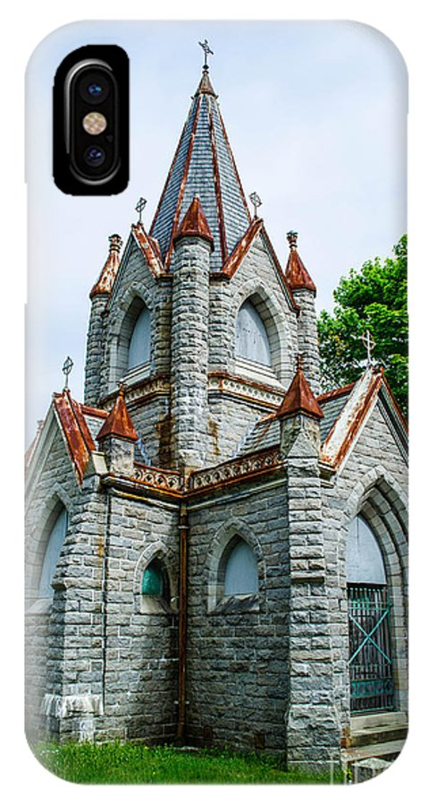 New England IPhone X Case featuring the photograph New England Cemetery Mausoleum by Michael Moriarty
