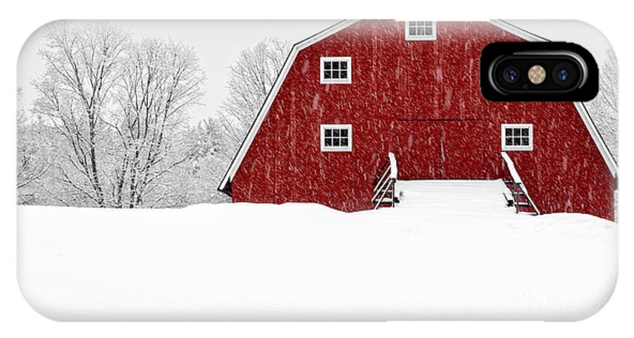 Etna IPhone X Case featuring the photograph New England Red Barn In Winter Snow Storm by Edward Fielding