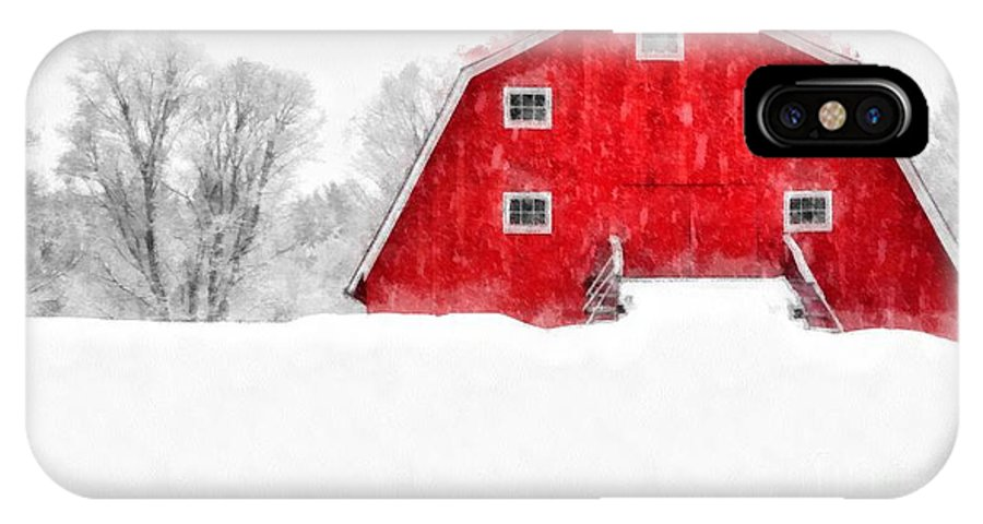 Etna IPhone X Case featuring the photograph New England Red Barn In Winter Snow Storm Watercolor by Edward Fielding