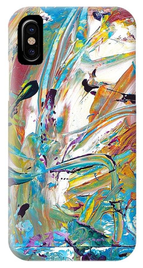 Janet Gunderson IPhone X / XS Case featuring the painting New Growth by Janet Gunderson