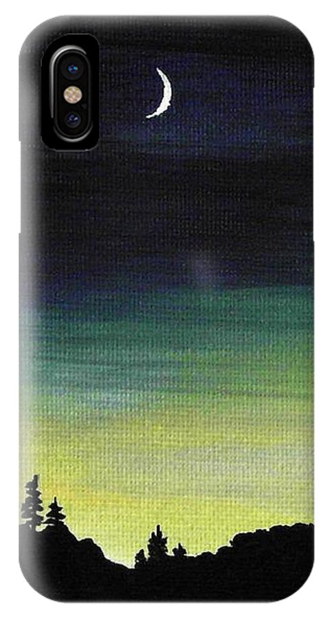 Moon IPhone X Case featuring the painting New Moon by Anastasiya Malakhova