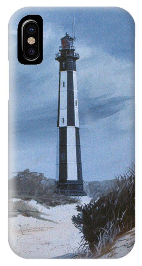 Light House IPhone X Case featuring the painting New Point Comfort Light by Jim Melton