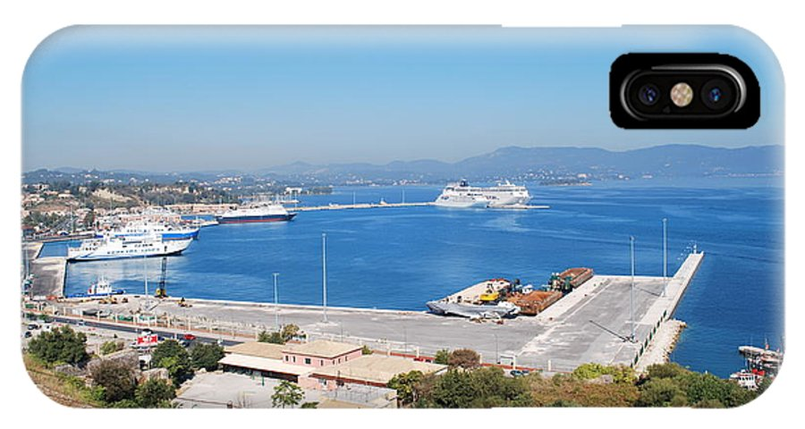 Corfu IPhone X Case featuring the photograph New Port Corfu by George Katechis