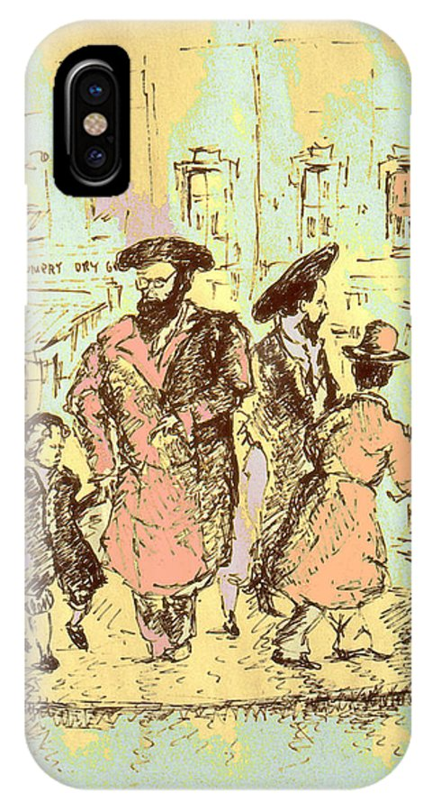 New_york IPhone X Case featuring the drawing New York City Jews - Fine Art by Peter Potter