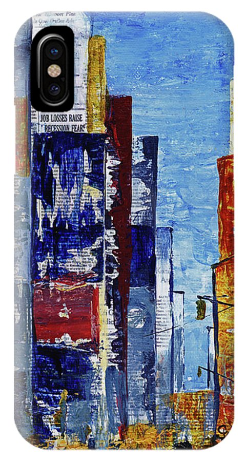 York IPhone X Case featuring the mixed media New York Dreams by Cindy Johnston