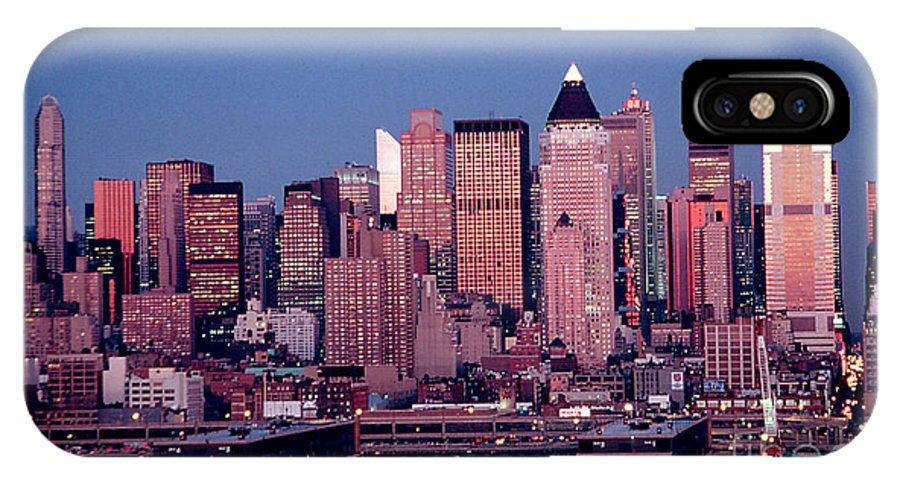 Nyc IPhone X Case featuring the photograph New York Skyline At Dusk by Anthony Sacco