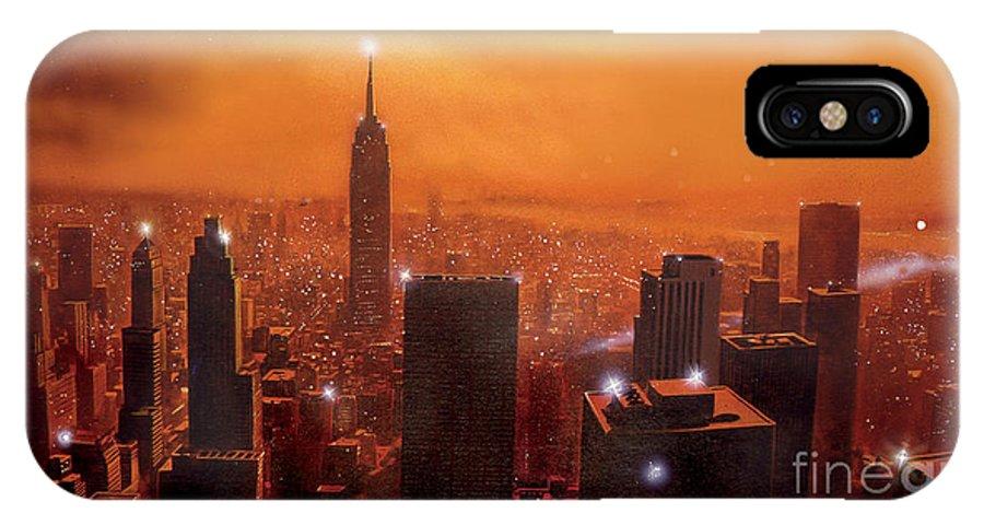 America IPhone X Case featuring the digital art New York Sunset by Steve Crisp