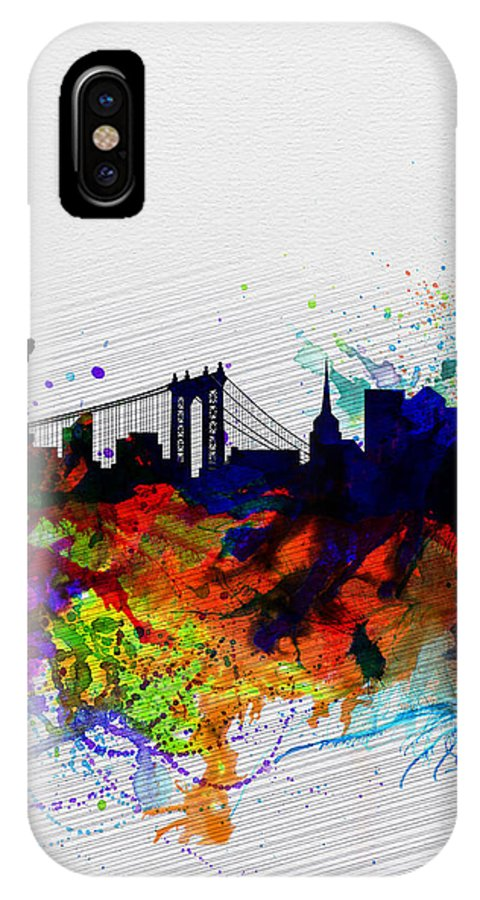 New York IPhone X / XS Case featuring the painting New York Watercolor Skyline 1 by Naxart Studio