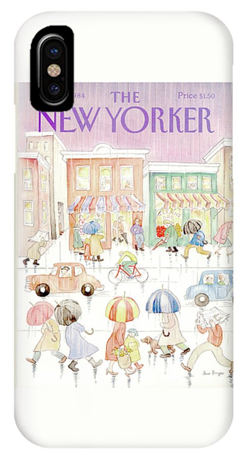 Rain IPhone X Case featuring the painting New Yorker April 16th, 1984 by Anne Burgess