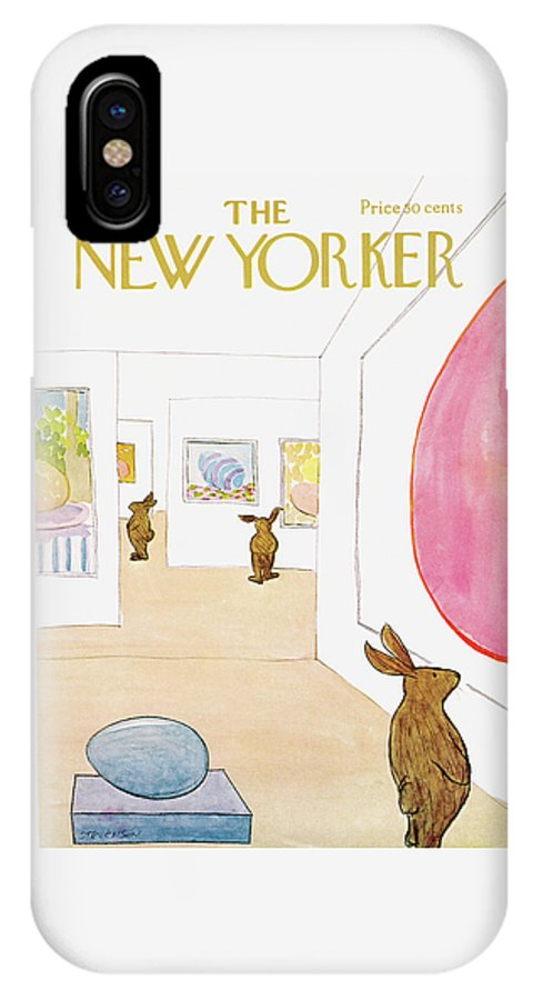 James Stevenson IPhone X Case featuring the painting New Yorker April 1st, 1972 by James Stevenson