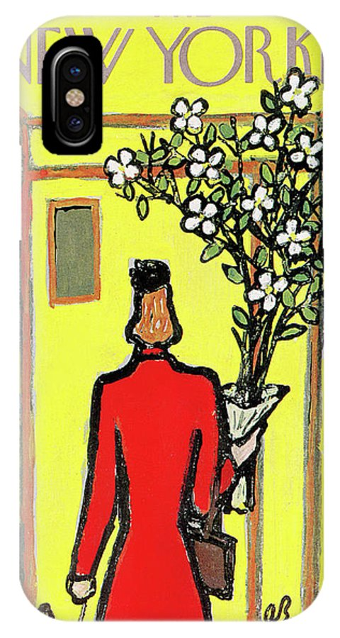 Abe Birnbaum Abi IPhone X Case featuring the painting New Yorker April 25th, 1959 by Abe Birnbaum