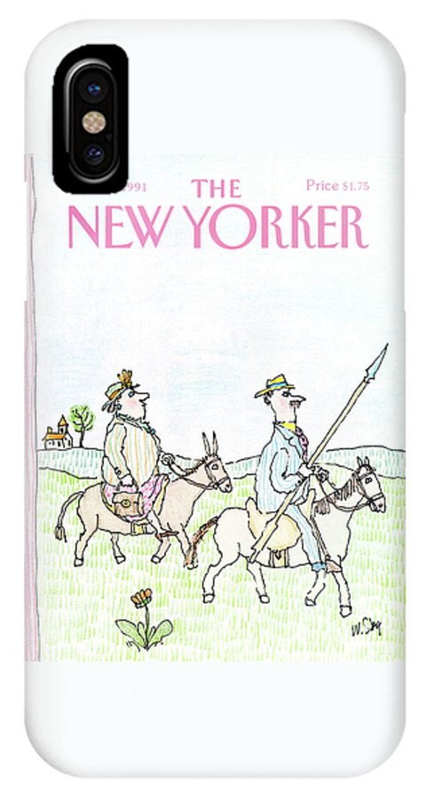 A Man And Woman IPhone X Case featuring the painting New Yorker April 29th, 1991 by William Steig