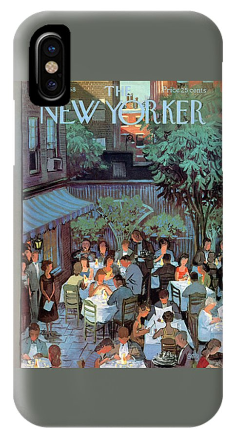 Arthur Getz Agt IPhone X Case featuring the painting New Yorker August 2nd, 1958 by Arthur Getz