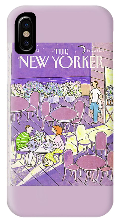 A Couple Dine On A Cafes Outdoor Patio Which Is Decorated With Large Pots Of Flowers. Meanwhile The Waiter Stands Near By As He Gazes Out Towards The Near Distant Beach. IPhone X Case featuring the painting New Yorker August 3rd, 1992 by Devera Ehrenberg