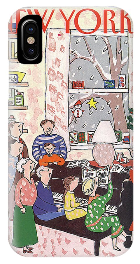 (a Family Gathers Around A Piano As They Sing Christmas Carols.) Entertainment IPhone X Case featuring the painting New Yorker December 10th, 1990 by Devera Ehrenberg