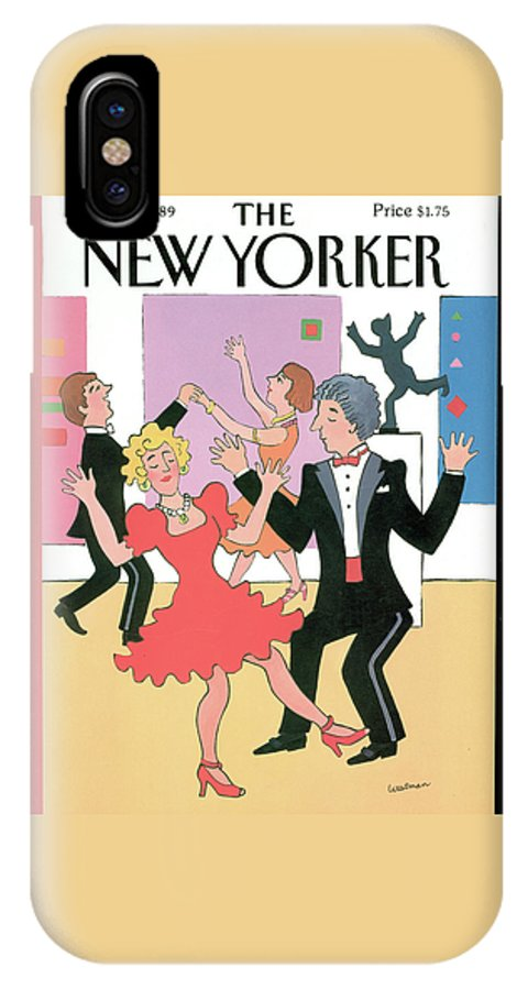(well Dressed Couples Dancing.) Leisure IPhone X Case featuring the painting New Yorker December 11th, 1989 by Barbara Westman