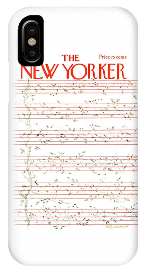 Christmas IPhone X Case featuring the painting New Yorker December 15th, 1975 by James Stevenson