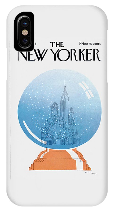 City IPhone X Case featuring the painting New Yorker December 22nd, 1975 by RO Blechman
