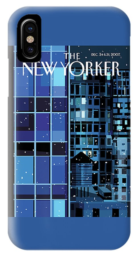 Urban IPhone X Case featuring the painting New Yorker December 24th, 2007 by Kim DeMarco