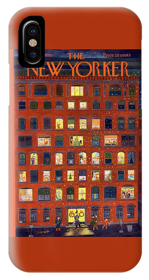 Apartment IPhone X Case featuring the painting New Yorker December 26, 1953 by Ilonka Karasz